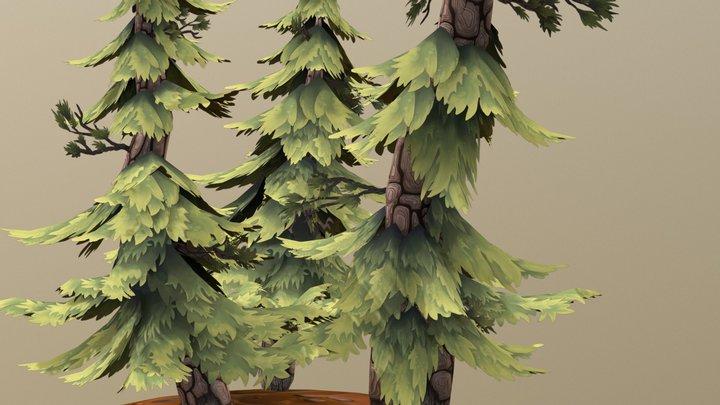 Stylized Pine Trees 3D Model