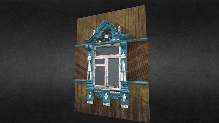 Wooden ornate window in old russian style 3D Model