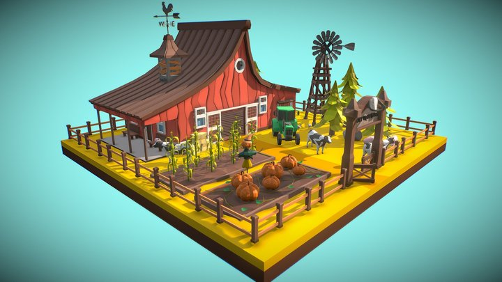 Low Poly Farm V2 3D Model