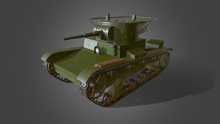 Low Poly T-26RT 3D Model