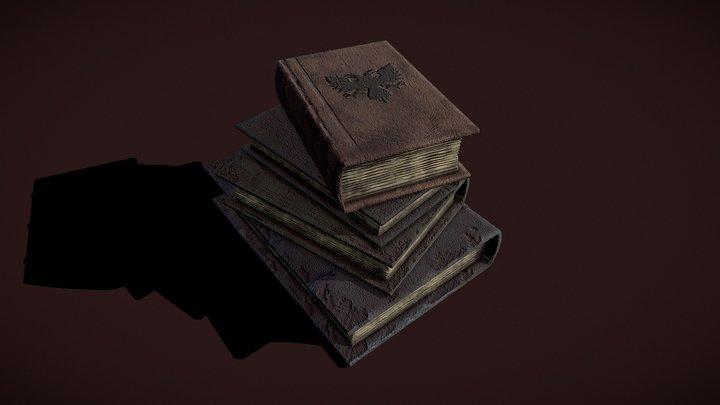 Medieval Book Stack 3D Model