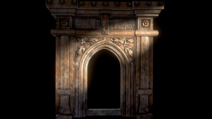 Gothic Stone Arch (low-poly, game-ready) 3D Model