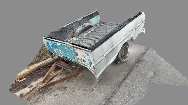 Scan of pickup truck bed cut into a trailer 3D Model