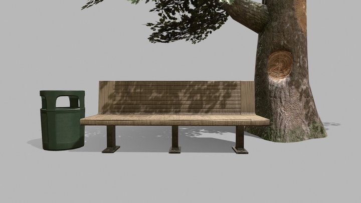 Bench, Bin & Tree 3D Model