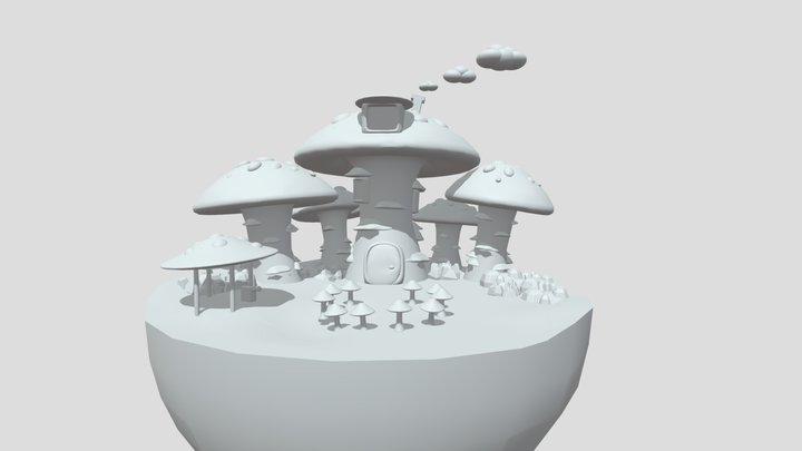 Mushroom forest final setup- grayboxed 3D Model