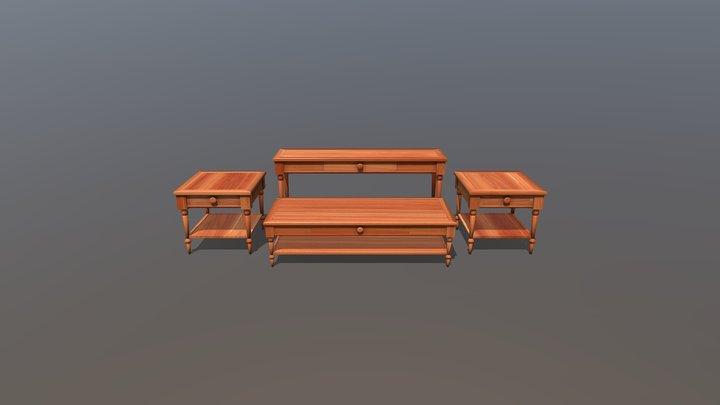 Wooden Living Room Table Set 3D Model