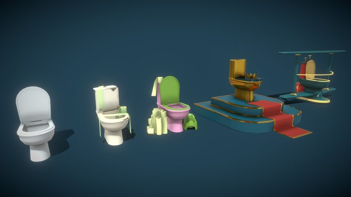 Toilet: new, old, family, special, crazy 3D Model