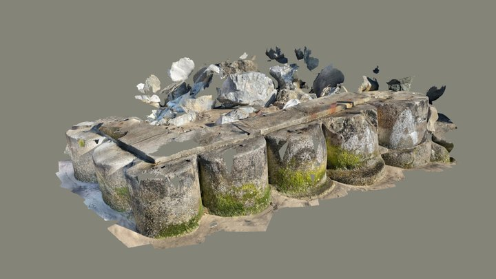 large HD scan of sea wall 3D Model
