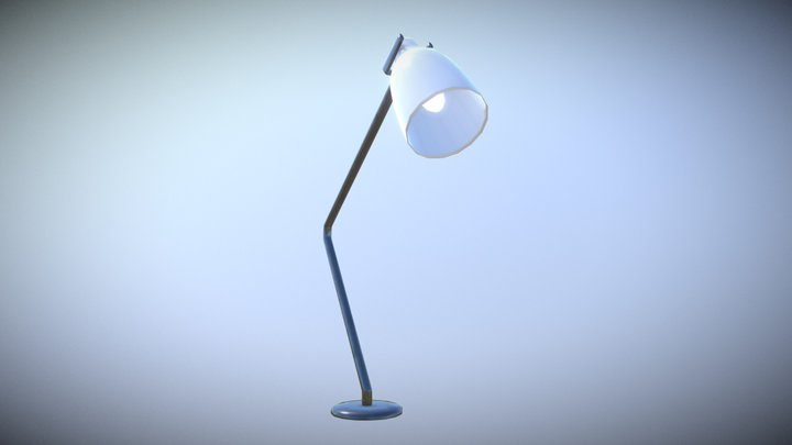 Game Ready Table Lamp Steel low-poly 3D Model