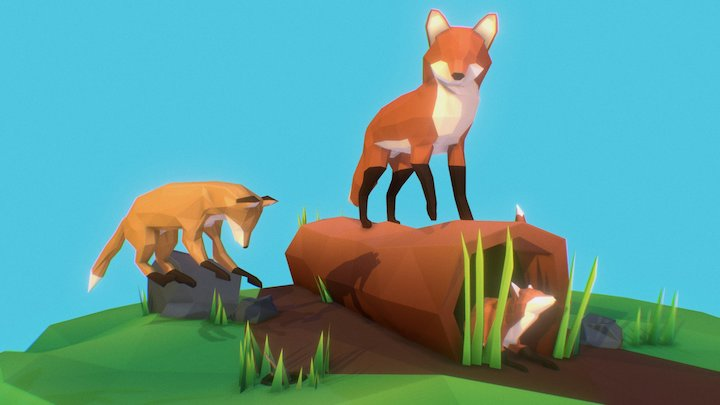 Foxes Playing 3D Model