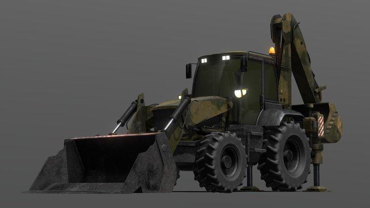 Tractor Excavator Model 01 (Military version) 3D Model