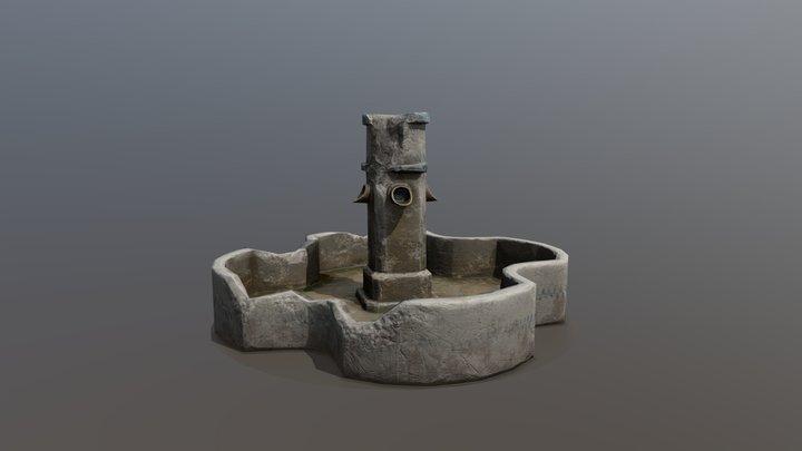 Night cemetery. Fountain 3D Model