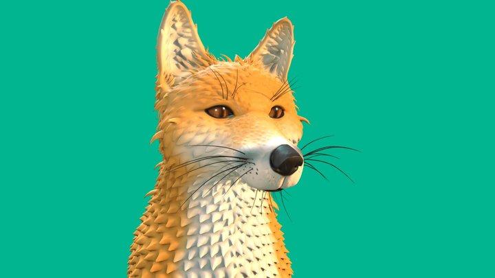 Fox Head Sculpt HD 3D Model