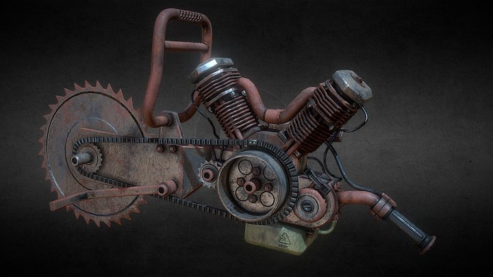 Salvaged 'cement-saw' weapon 3D Model