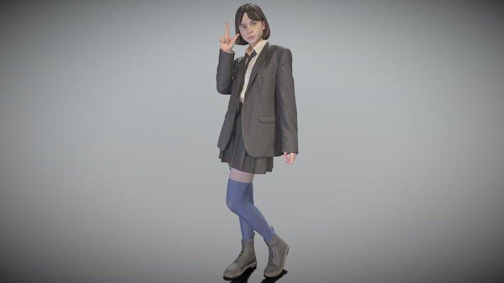 Playful girl in school uniform posing 183 3D Model