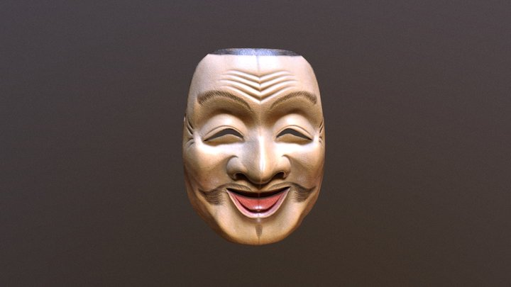 Ebisu Mask Japanese Mythology Wood 3D Model
