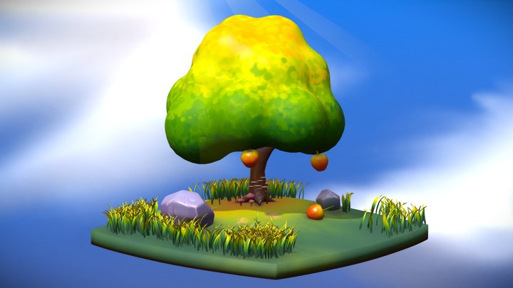 Hand painted fruit tree 3D Model