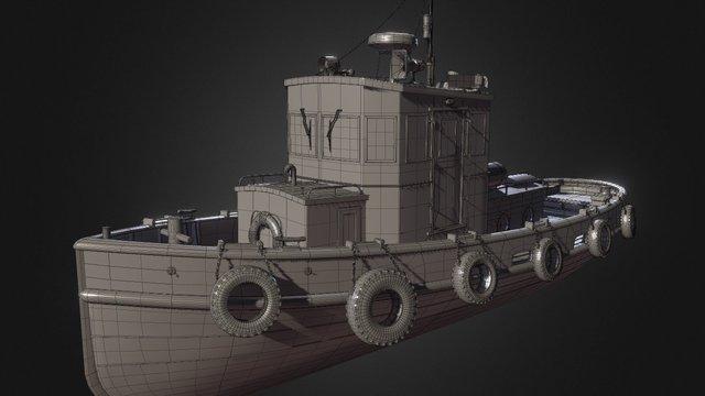 Steel Boat Tug 3D Model
