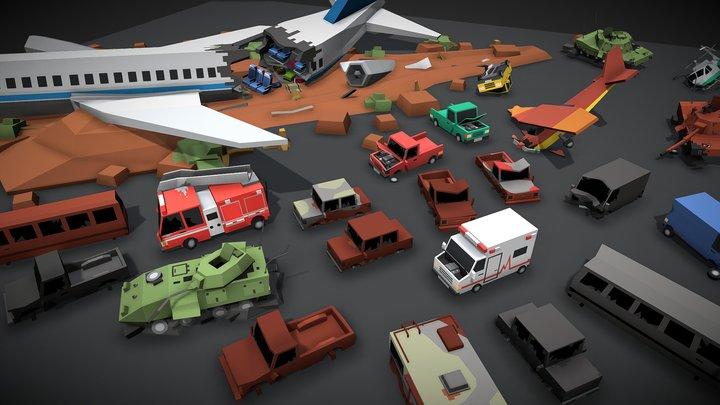 Simple Apocalypse - Damaged Vehicles 3D Model