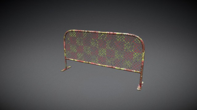Grungy Carnvial safety Railing/Barrier 3D Model