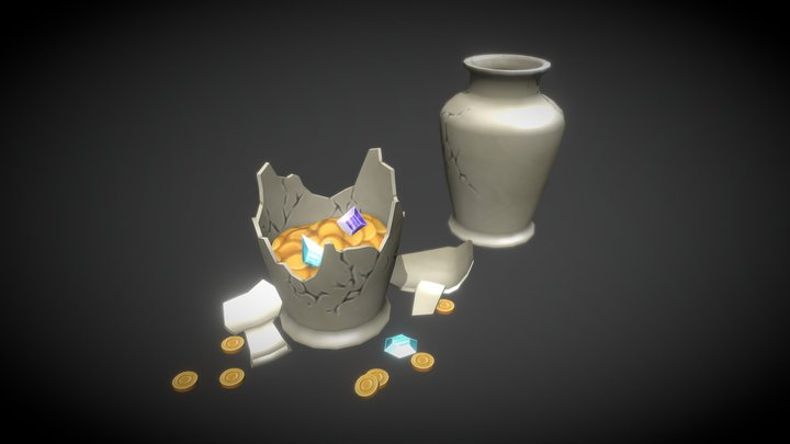 Vase Pack - Low Poly Hand-painted Assets 3D Model