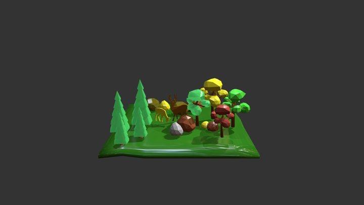 Bosco con cervi 3D Model