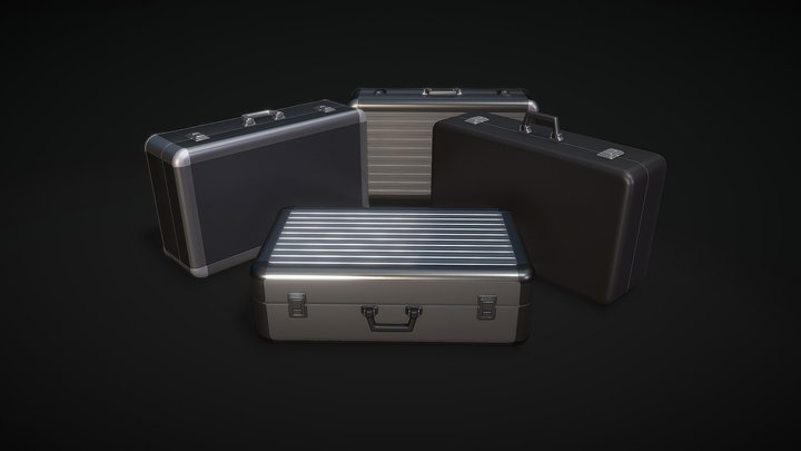 Two Types of Metal ( Aluminum ) Briefcases 3D Model