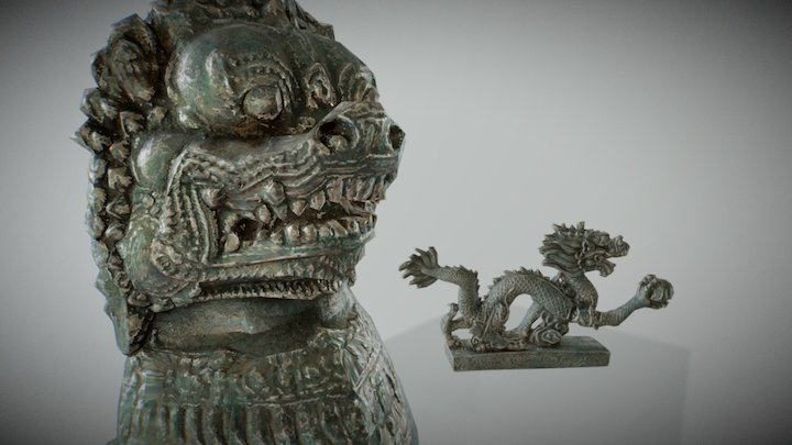 Lion and dragon 3D Model