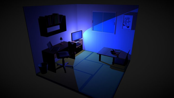 Low poly scene of japanese room at night 3D Model