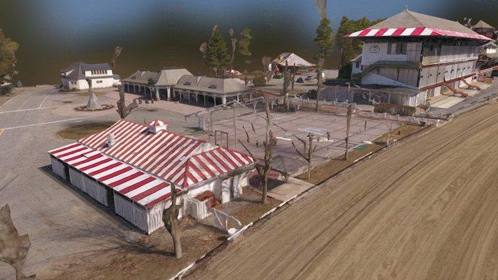 Saratoga Horse Race Track Grandstand 3D Model