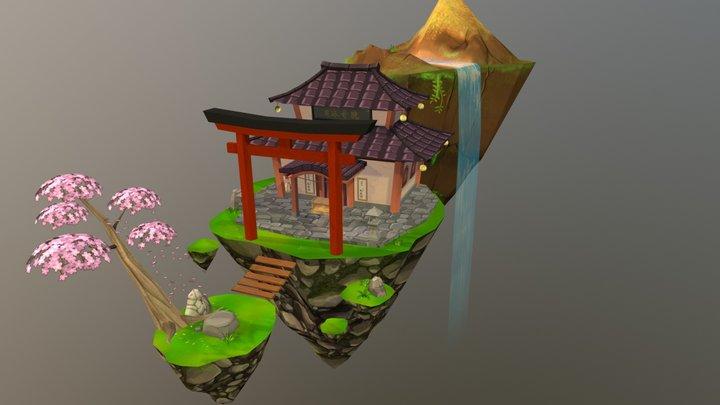 Low Poly Temple 3D Model