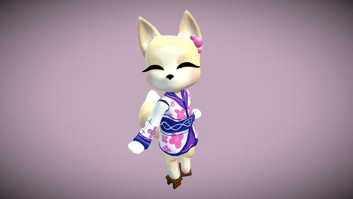 Cute Little Fox Lady 3D Model