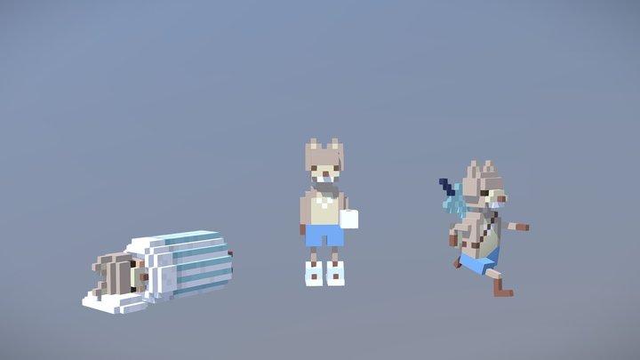 Foxes 3D Model
