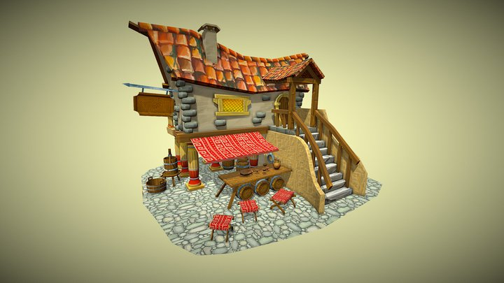 Game Art Village House: Ancient Greek Winery 3D Model