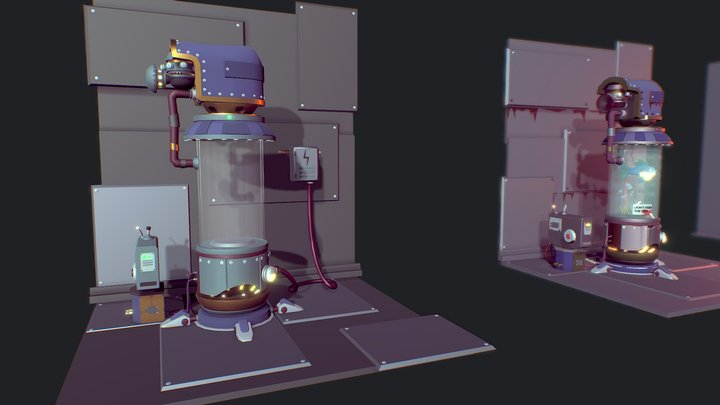 Story of a little fish (Color draft) 3D Model