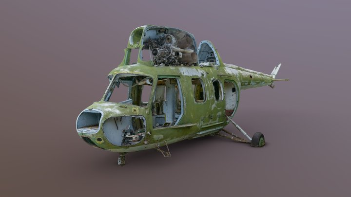 Scrapped Mi2 helicopter 3D Model