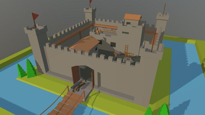 Low poly Castle 3D Model