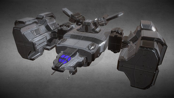 Heavy Space Fighter 3D Model