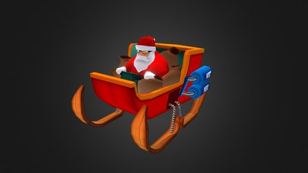 LowPoly Santa Monster Car 3D Model