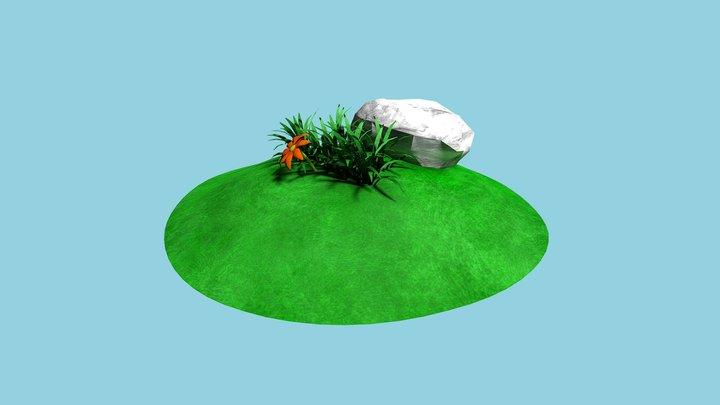 Rock, grass and a flower 3D Model