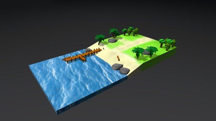 Beach Low Poly 3D Model