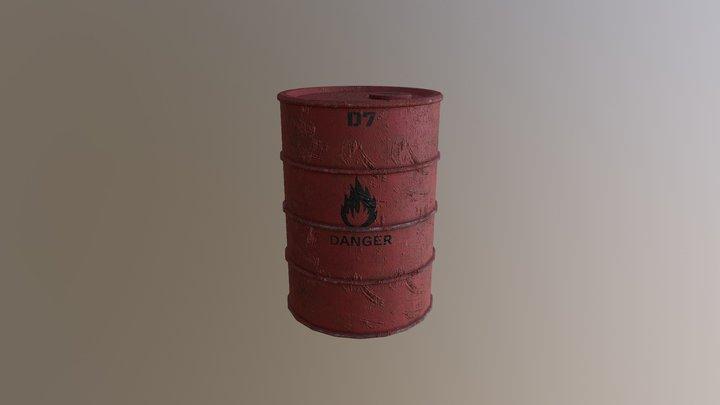 Explosive Metal Barrel 3D Model