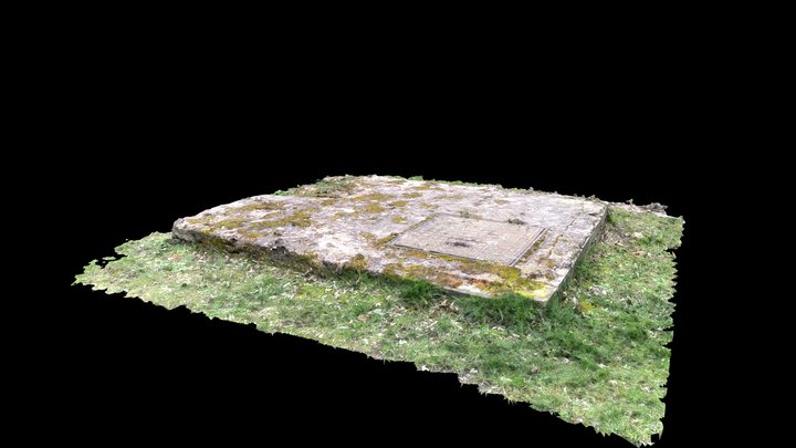 Manhole cover in concrete block 3D Model