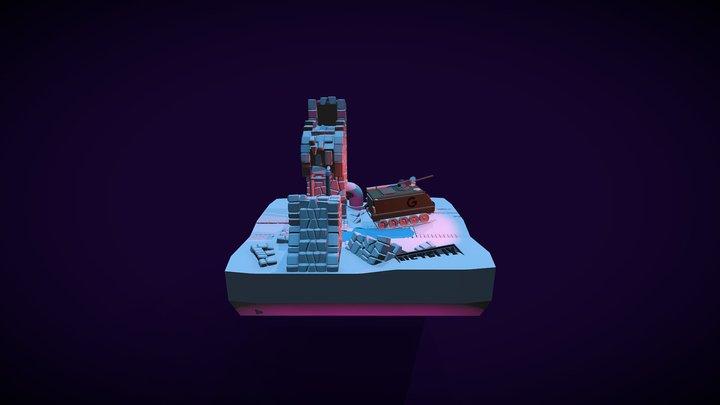 Low poly ruins 3D Model