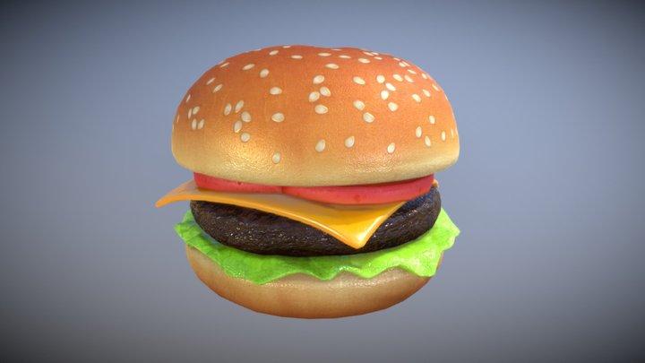 Cartoon Cheeseburger 3D Model