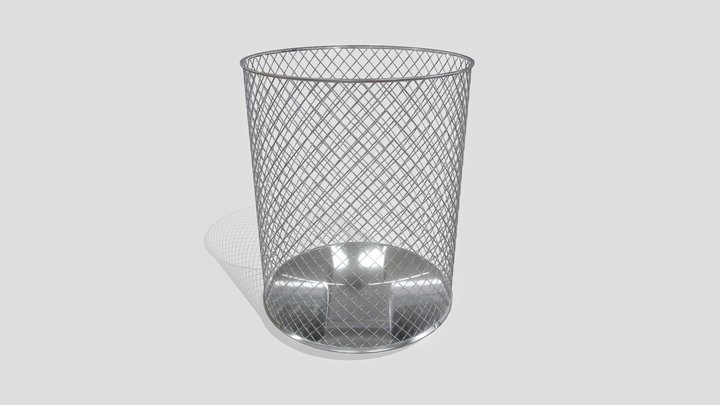 Metal Wire Mesh Trash Can 3D Model