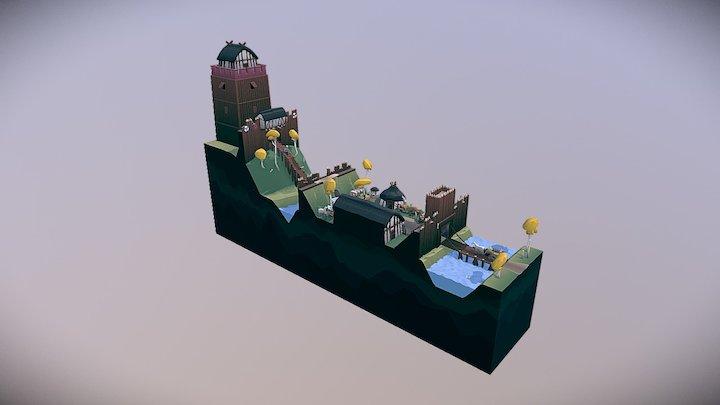 Dark Age Motte And Bailey #MedievalFantasyScene 3D Model