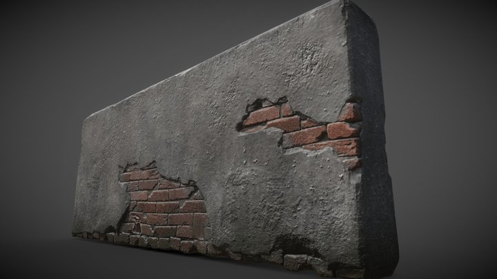 Damaged Wall 3D Model