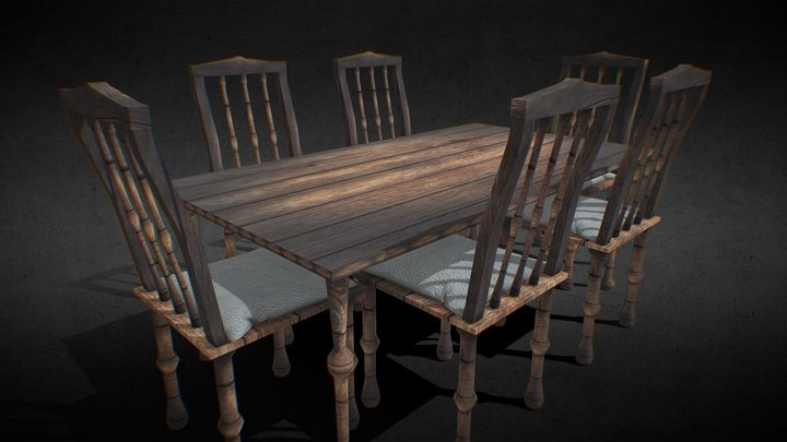 Game Ready Rustic Table With Chairs 3D Model