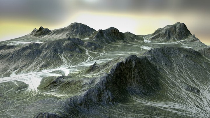 highland river terrain 3D Model